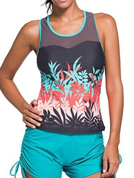 Simple Print Tank Top Style Swimwear