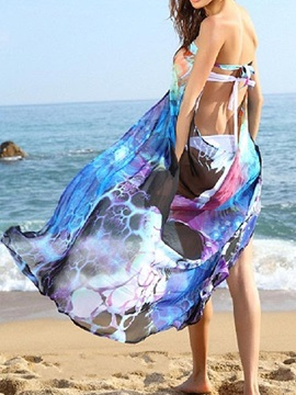 Beautiful Flower Print Strapless Backless Beach Cover-Up