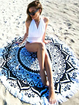 Unique Print Round Fringed Beach Blanket