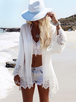 Eagle Print Lace Hollow Cover-Up
