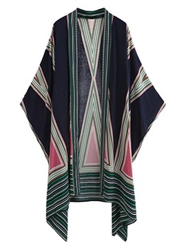 Color Block Pattern Mid-Length Asymmetric Cover-Up