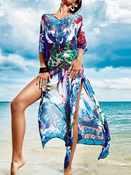 Summer Floral Print Beach Cover-Up