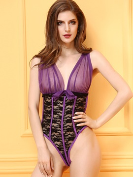 Elegant Mesh Lace Up Teddy