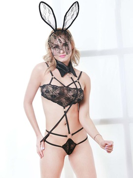 Lace Playsuit with Collared Leash Teddy
