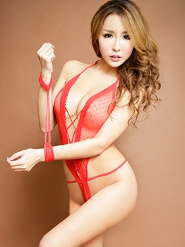 Halter Lace-up Backless Open Crotch Teddy