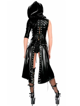 Asymmetric Stringing Patent Leather Cloak