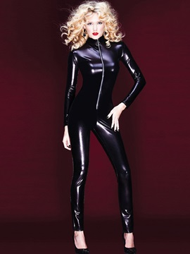 Plain Long Sleeve Zipper Patent Leather Teddy