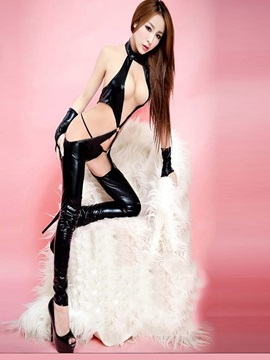 Halter Hollow Sexy Patent Leather Teddy with Gloves and Thong