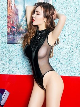 Sexy Patent Leather Mesh Splice Lingerie Zipper Open Crotch Bodysuit