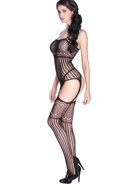 Black Striped Gartered Bodystocking