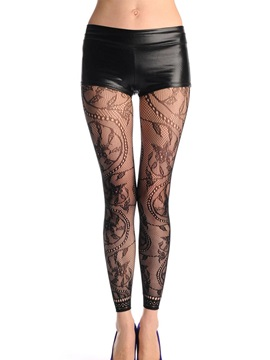 Black Floral Pattern Fishnet Pantyhose