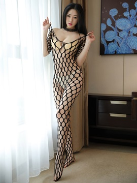 Big Fishnet Off-Shoulder Sexy Pantyhose Body Stocking