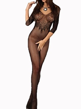 Black Deep V-Neck Lace Jacquard Fishnet Body Stocking