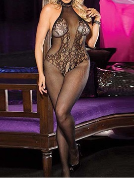 Black Backless Floral Body Stocking