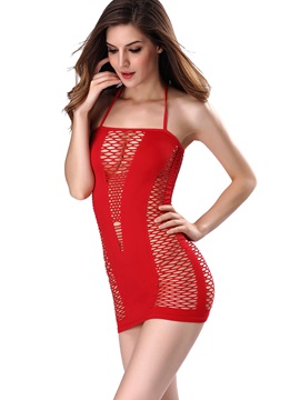 Plain Spaghetti Strap See-Through Chemise