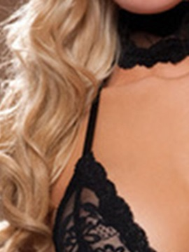 Plain Backless Lace Halter Sexy Nightgown Babydoll