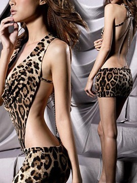 Attractive Lace Leopard Women Babydoll ch0209