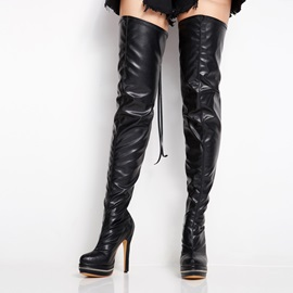 PU Black Leather Stiletto Heels Knee High Boots