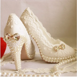 Sweet Pearl Lace Wedding Shoes