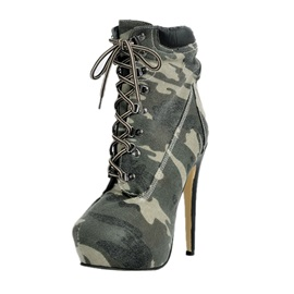 Camouflage Color Lace-Up Platform Booties