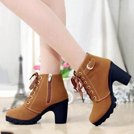 PU Chunky Heel Zippered Ankle Boots