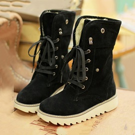 Suede Lace-Up Fold Over Booties