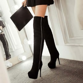 Suede Fabric Pleated Stiletto Women's Black Boots