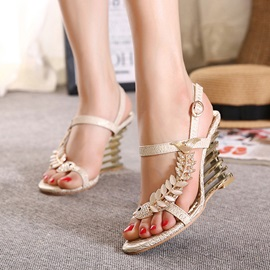 Rhinestone Open-Toe Buckle Wedge Sandals