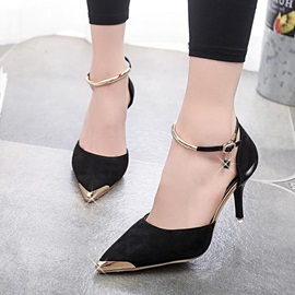 Suede Pointed Toe Ankle Strap Pumps