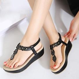 Flower Embellished Thong Wedge Sandals
