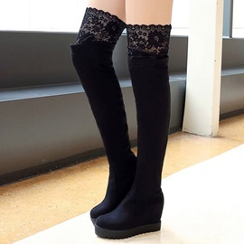 Lace Patchwork Over Knee Wedge Boots