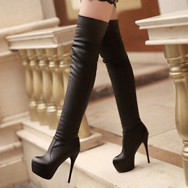 PU Slip-On Stiletto Slim Over Knee Boots