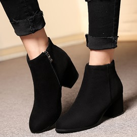 PU Side-Zipper Thread Block Heel Fashion Boots