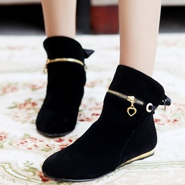 Faux Suede Zipper Lace-Up Back Ankle Boots