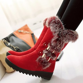 Suede 3D Slip-On Chunky Wedge Heel Snow Boots