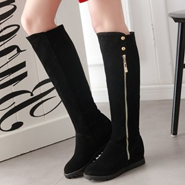 Suede Side Zipper Rivet Thread Black Knee High Boots