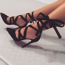 Sexy Black Ankle Ribbon Lace Up Stiletto Heels