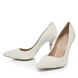 PU Beads Slip-On Pointed Toe Wedding Shoes