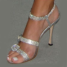 Striped Strass High Heel Women's Sandal
