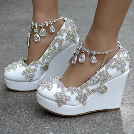 Silk Fabric Chain Rhinestone Buckle Wedge Wedding Shoes