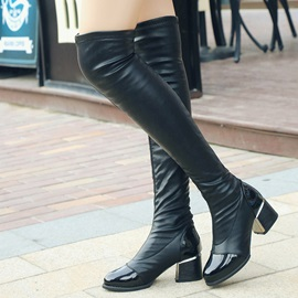 PU Slip-On Block Heel Thigh High Black Boots