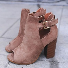 Faux Suede Hasp Chunky Heel Peep Toe Women's Boots