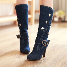 Denim Buckle Slip-On Stiletto Women's Knee High Boots