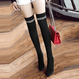 Cotton Letter Slip-On Stiletto Black Thigh High Boots