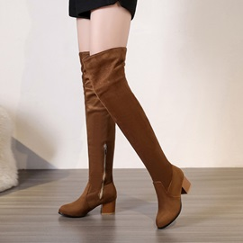 Faux Suede Side Zipper Chunky Heel Thigh High Boots
