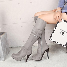 Faux Suede Chain Side Zipper Women's Boots