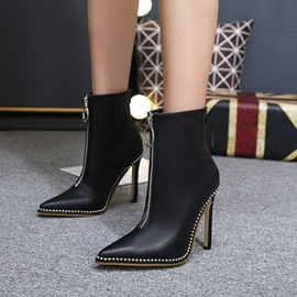 PU Front Zip Pointed Toe Stiletto Women's Boots