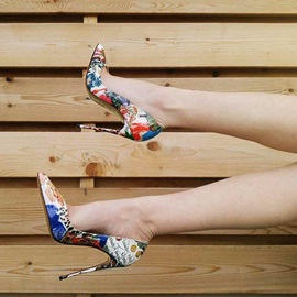 PU Slip-On Print Floral Pointed Toe Pumps for Women