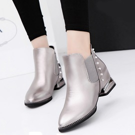 PU Patchwork Pointed Toe Rivets Women's Flat Boots