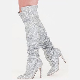 Sequin Pointed Toe Slip-On Thigh High Boots